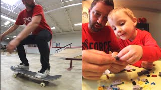father son skateboard and lego time