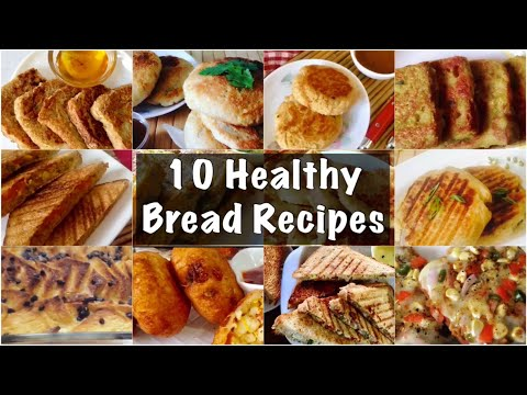 10 Healthy Bread Recipes | How to Make Bread Sandwich, toast, Cutlets, pudding, Pizza | In Hindi