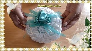 DIY tutorial how to make a pillow for wedding rings Ribbon Flower tutorial how to sew pillow