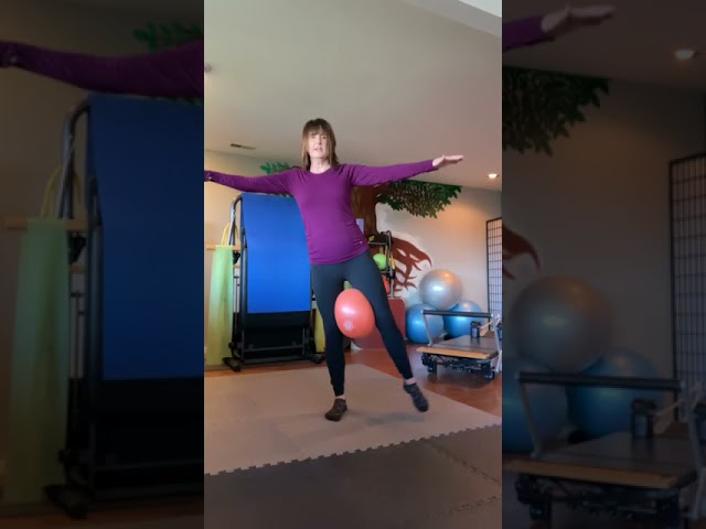 Stimulating the fascia and work on balance with our favorite orange ball!