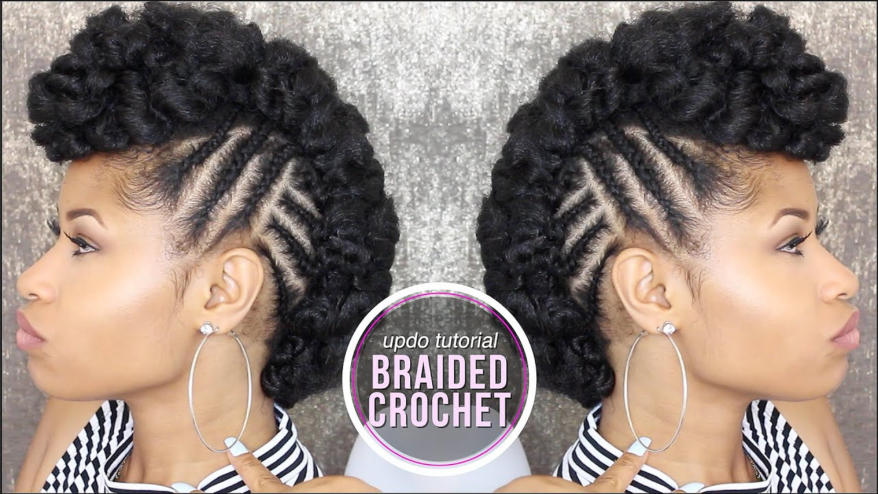 Braided Updo Styles For Natural Hair: How To SIDE BRAIDED CROCHET UPDO!