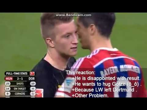 Marco Reus reaction to Lewandowski's hug | He's disappointed with the game