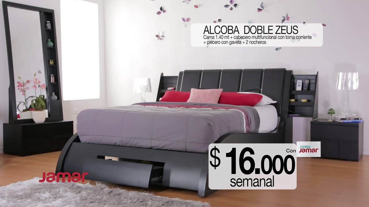 COMERCIAL MUEBLES JAMAR ALCOBA DOBLE ZEUS  YouTube