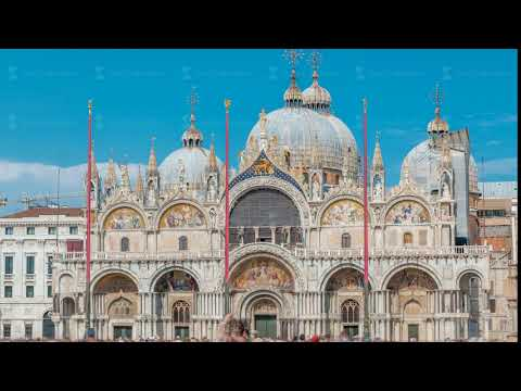 Basilica of St Mark timelapse. It is cathedral church of Roman Catholic Archdiocese of Venice
