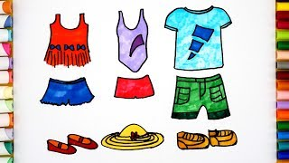 How To Draw Clothes Easy step-by-step - Coloring Lessons For Kids