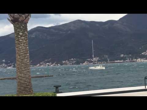 Sailing yacht breaks mooring lines in Porto Montenegro.