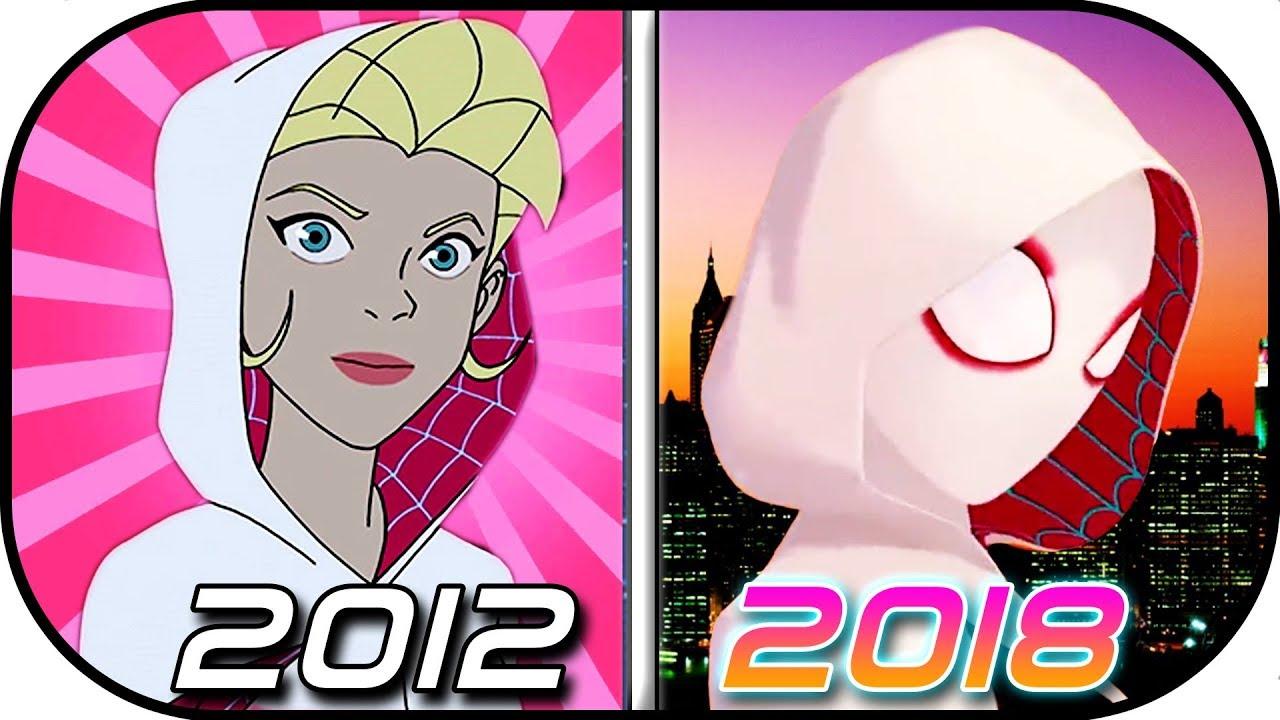 EVOLUTION of SPIDER-GWEN (Gwen Stacy, Spider-woman, Ghost-spider) in  movies, cartoons TV (2012-2018)