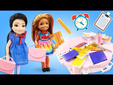 Куклы Барби в видео для детей - Челси и Кайт собираются в школу! – Игры одевалки для девочек.