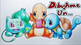 como dibujar a charmander squirtle y bulbasaur jugando pokemon