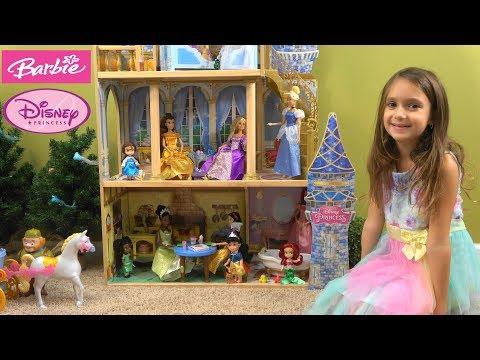 Barbie and Chelsea Visit Princess Cinderella, Rapunzel, Snow White, Ariel, Belle in Princess Castle