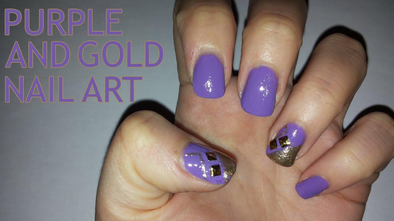 purple and gold nail art