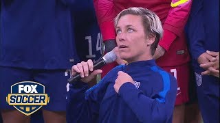 Abby Wambach gets emotional while addressing fans