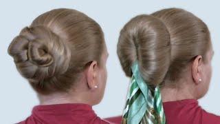 Как Делать Пучок на Голове из Длинных Волос Видео Урок: 3 Варианта Прически Самой Себе