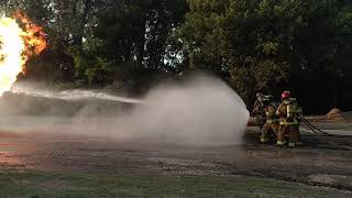 Fort Calhoun Fire Department training for propane tank fires and BLEVE procedures.