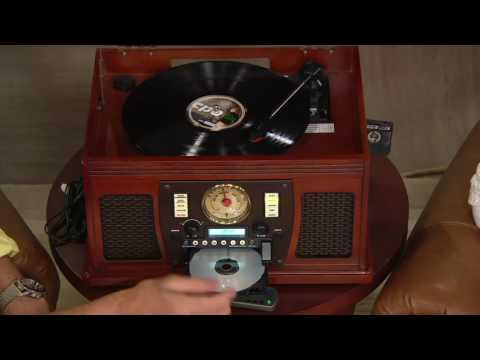 Aviator Recordable 8-in-1 Wooden Music Center with Bluetooth on QVC