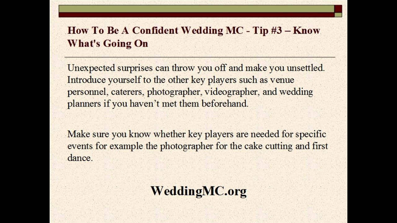 Wedding Mc How To Be A Confident Wedding Mc Youtube