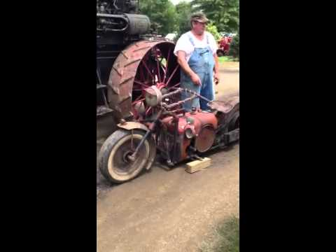 Motorcycle built with old tractor parts