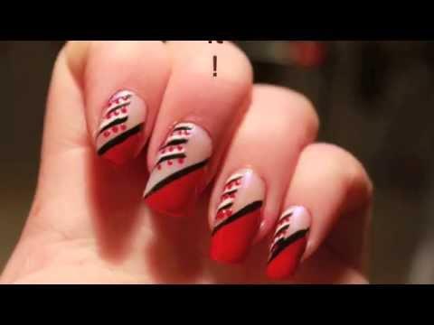 Tutorial: Nail Art: Red,black & white - Tutorial: Nail Art: Red,black & White - YouTube