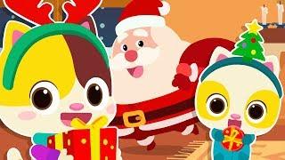 산타의 선물을 받았다~!|행복한 크리스마스|고양이가족|소방차동요|냠냠동요|베이비버스 동요|BabyBus