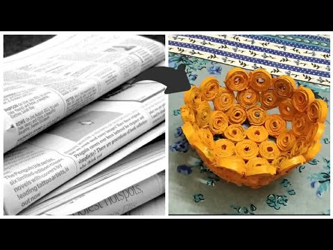 How to Make a Newspaper Bowl   DIY Waste Material Craft   Waste Material Crafting at Home