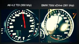 BMW 750d xDrive vs. AUDI A8 4.2 TDI ► 0-100 kmh