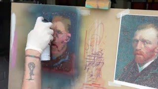 tinypink stencil cap van gogh s self portrait spay painting