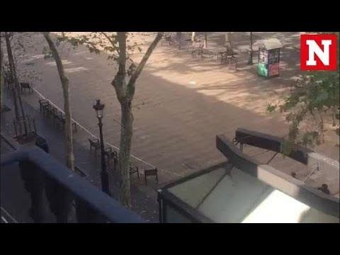 Twitter footage shows debris after van ploughs into crowd in Barcelona