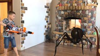 Nerf war spiders invaded the house again пауки снова вторглись в дом