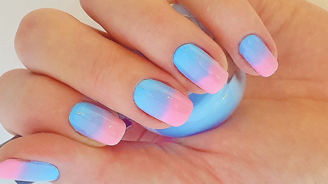 Ombre nails for beginners (Pink and Blue) - YouTube