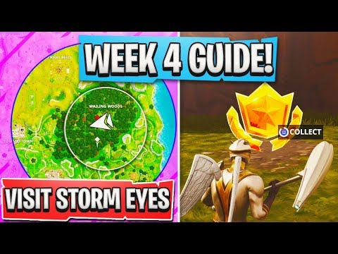 Fortnite WEEK 4 CHALLENGES GUIDE! - Search Between a Bench Ice Cream, Visit the Center Storm Circle