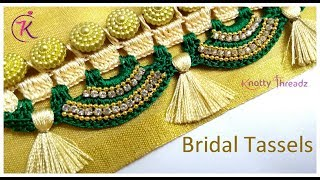 Latest Saree Kuchu Design | Stone Work | Bridal Crochet Saree Tassels | 7/10 | www.knottythreadz.com