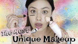Trying the Most Unique Makeup Products | Metal Mascara, Lip Elixirs, and Spray-on CC