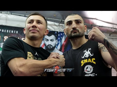 GENNADY GOLOVKIN LOOKS MASSIVE NEXT TO VANES MARTIROSYAN DURING FACE OFF! BOTH SHOW MAD RESPECT!