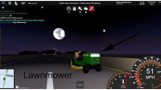 I drive at highway using only Lawnmower in Roblox Ultimate Driving