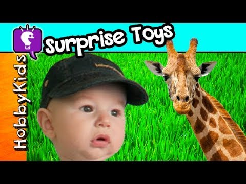 Thumbnail: HobbyBaby ZOO Surprises! Feeding Giraffes + Train Ride, Elephants HobbyKidsTV