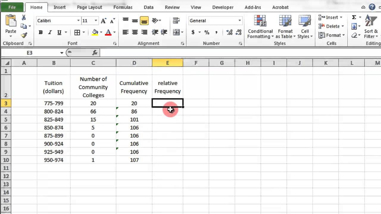 how to make a data frequency table in excel