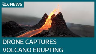 Spectacular drone footage of long dormant Iceland volcano erupting | ITV News