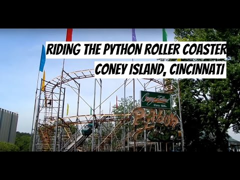 "Riding ""The Python"" Roller Coaster at Coney Island Cincinnati"