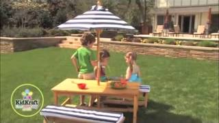 Kidkraft Outdoor Table And Bench With Umbrella In Canada