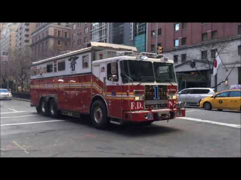 """COMPILATION OF FDNY RESCUE 1 """"ONLY"""" RESPONDING IN VARIOUS NEIGHBORHOODS OF MANHATTAN, NEW YORK.  02"""
