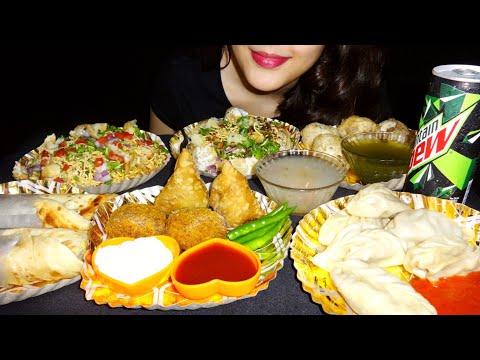 INDIAN STREET FOOD:Eating MOMO,PANIPURI/GOLGAPPE,BHELPURI,DAHI PURI,SAMOSA,VEG CUTLET,EGG ROLL|ASMR