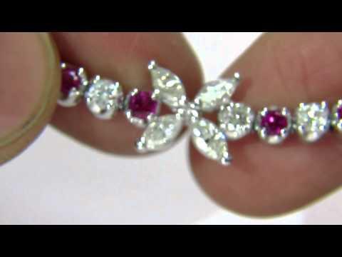Avis Diamond: 5.75Ct NATURAL DIAMOND MARQUISE CLUSTERS RUBY BRACELET 14KT