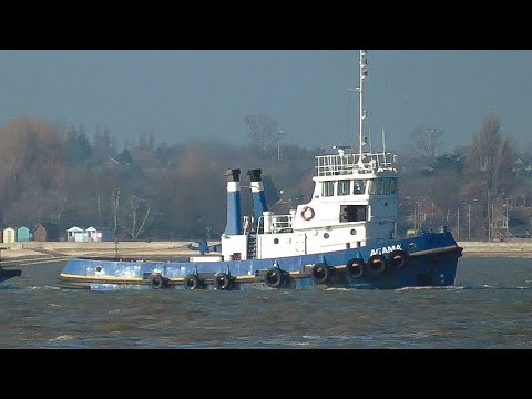 Tug AGAMA towing barge through harwich harbour 19/2/19