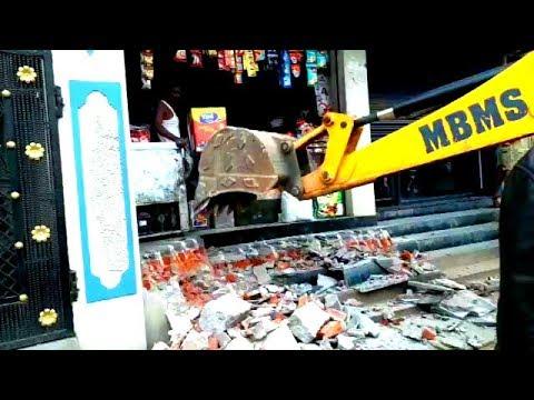 Ghmc Demolishing Work At Chandrayangutta | Many Shops Extended Got Demolished | @ SACH NEWS |