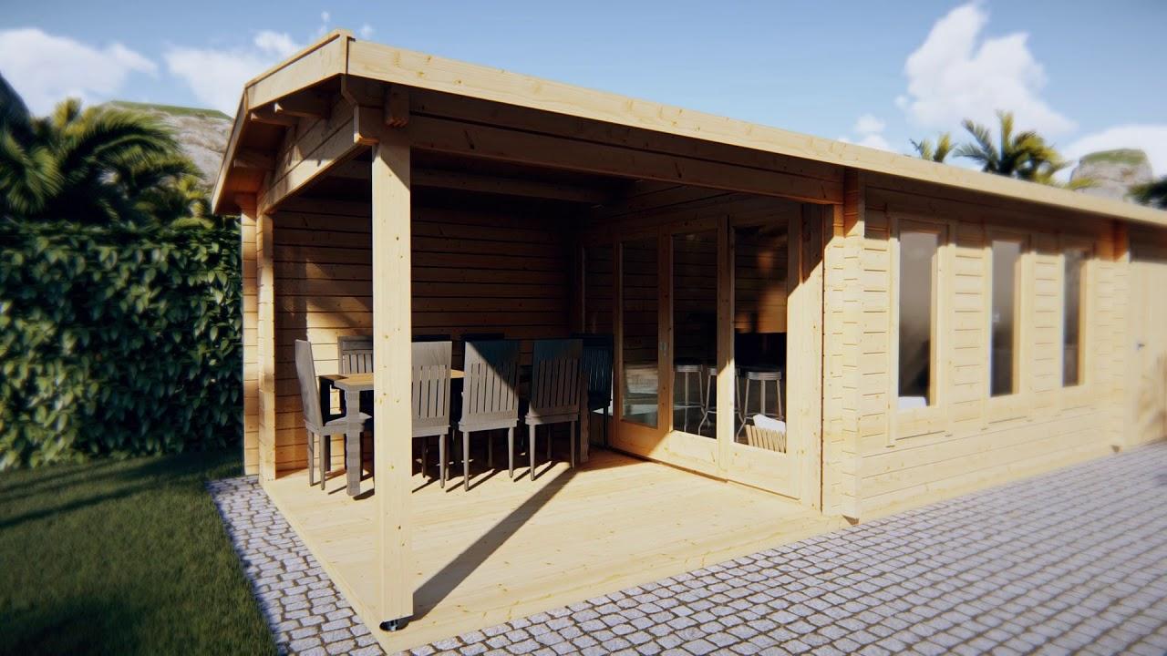 Gartenhaus mit Veranda und Schuppen Super Eva E