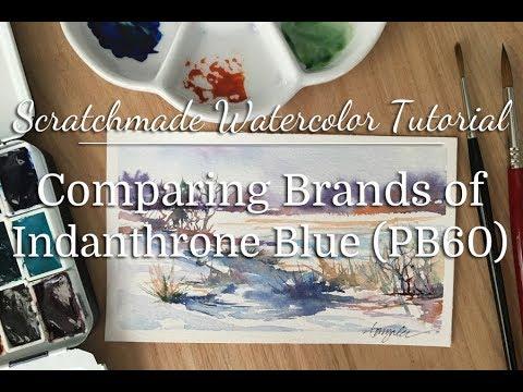Watercolor Comparison: Indanthrone Blue (PB60)