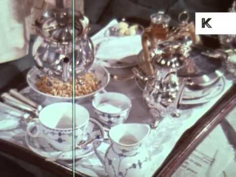 1970s UK Upper Class, Butler Serves Wealthy Man Breakfast in Bed