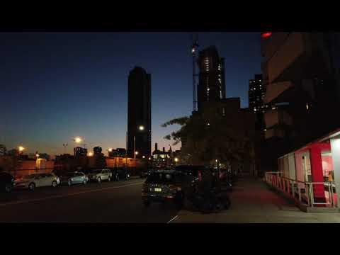 Walking NYC : Downtown Long Island City Waterfront Streets At Night (October 7, 2020) - ASMR