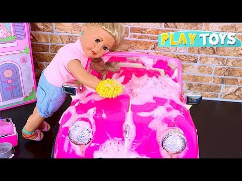 Thumbnail: Baby Doll car Wash Toy! Play OG Dolls pink car toys wash! AG Dolls make up hairstyle Shimmer Shine!