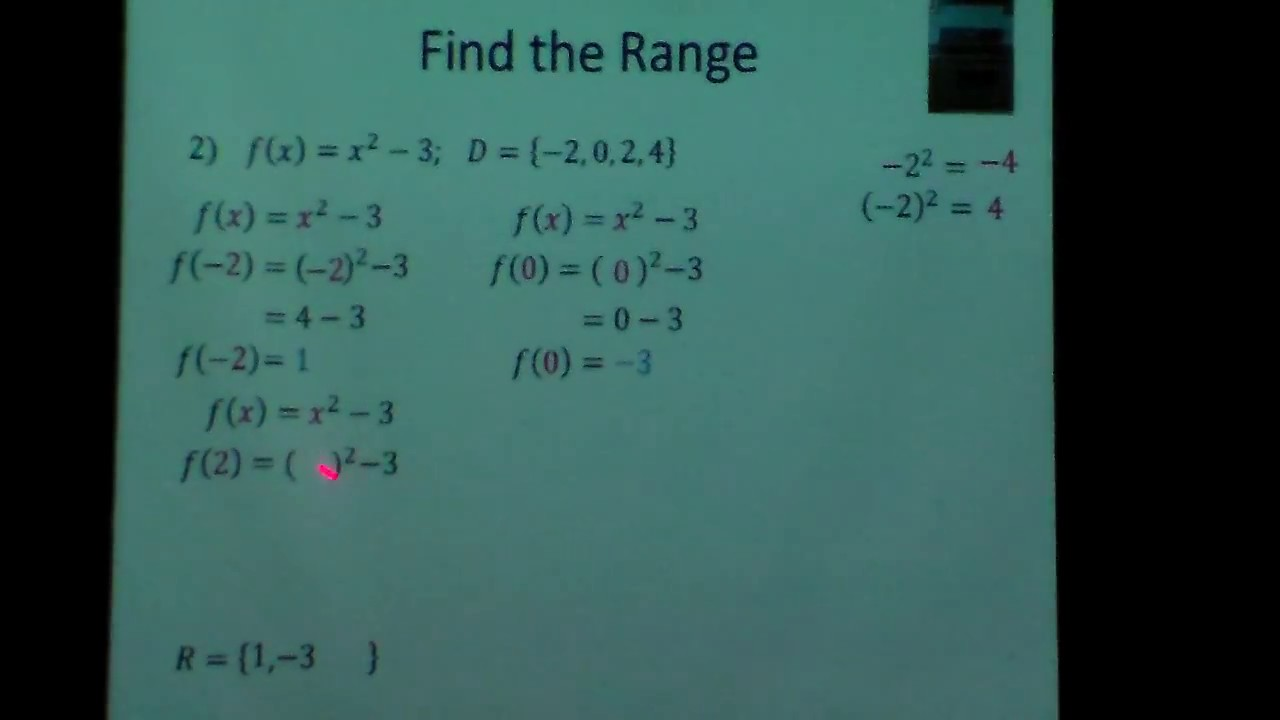 Functions Find the range of x squared minus 3 - YouTube